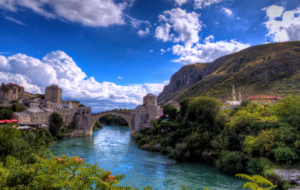 The Old Bridge, Mostar, Bosnia and Herzegovina. Mostar still has physical and societal scars emanating from conflict. Discussions relating to transitional justice often take place there.